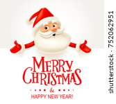 santa claus with big signboard. ... | Shutterstock . vector #752062951