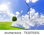 solar power and wind power to...   Shutterstock . vector #752070331