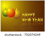 happy new year 2018 vector... | Shutterstock .eps vector #752074249