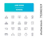 13. line icons set. school pack....
