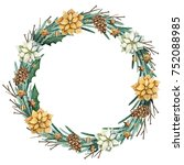 christmas wreath with flowers ... | Shutterstock . vector #752088985