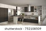 modern wooden kitchen with... | Shutterstock . vector #752108509