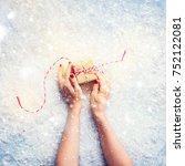 female hands holding festive...   Shutterstock . vector #752122081