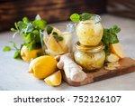 homemade lemon  ginger and mint ... | Shutterstock . vector #752126107