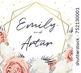 vector floral wedding invite...   Shutterstock .eps vector #752130001