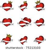 heart tattoo sticker set in... | Shutterstock .eps vector #75213103