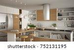 modern wooden kitchen with... | Shutterstock . vector #752131195