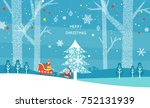 christmas illustration of snowy ... | Shutterstock .eps vector #752131939