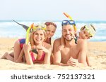 happy family with paddles and... | Shutterstock . vector #752137321