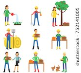 farmers characters set working... | Shutterstock .eps vector #752141005
