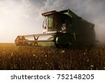 harvesting of soybean field... | Shutterstock . vector #752148205