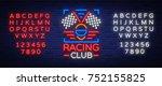 racing club neon logo logo. a... | Shutterstock .eps vector #752155825