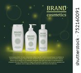 3d realistic cosmetic bottle... | Shutterstock .eps vector #752160091