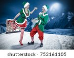christmas elf. roof with... | Shutterstock . vector #752161105