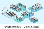 isometric flat 3d abstract... | Shutterstock . vector #752163001