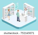 isometric interior of pharmacy. ... | Shutterstock . vector #752165071