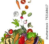 square of colored vegetables. ... | Shutterstock .eps vector #752168617