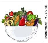 vegetables in a bowl. fresh... | Shutterstock .eps vector #752172781