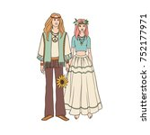young hippie man and woman with ... | Shutterstock .eps vector #752177971