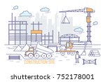 construction site or area with... | Shutterstock .eps vector #752178001