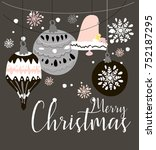 christmas decorations card | Shutterstock .eps vector #752187295