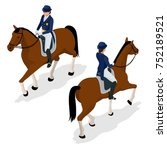 jockey on the horse. champion.... | Shutterstock .eps vector #752189521