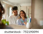 young couple bonding trough... | Shutterstock . vector #752190094