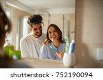 young couple bonding trough... | Shutterstock . vector #752190094
