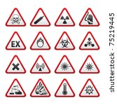 set of triangular warning... | Shutterstock .eps vector #75219445