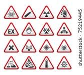 set of triangular warning... | Shutterstock .eps vector #75219445