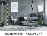 metal wardrobe in grey living... | Shutterstock . vector #752196247