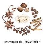 set of christmas spices... | Shutterstock . vector #752198554