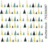 seamless pattern with christmas ... | Shutterstock .eps vector #752206087