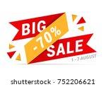 red   yellow big sale banner ... | Shutterstock .eps vector #752206621
