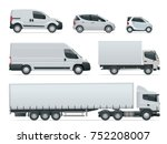 set of cargo trucks side view.... | Shutterstock .eps vector #752208007