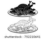black turkey meat dish outline... | Shutterstock .eps vector #752210641