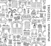 vector seamless pattern with... | Shutterstock .eps vector #752214361