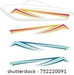 boat graphics  stripe   vinyl... | Shutterstock .eps vector #752220091