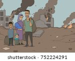 family of refugees with two... | Shutterstock .eps vector #752224291