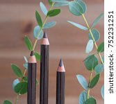 Small photo of Soft kohl kajal eyeliner pencils and green branches with leaves against wooden background - the concept of green beauty product