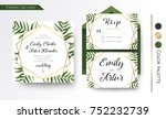 Stock vector wedding invitation save the date rsvp invite card design with green tropical forest palm tree 752232739
