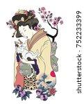 hand drawn geisha women hug... | Shutterstock .eps vector #752233399