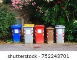 large colorful garbage bins ... | Shutterstock . vector #752243701