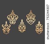 laser cut ornamental pendant... | Shutterstock .eps vector #752244307