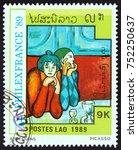laos   circa 1989  a stamp... | Shutterstock . vector #752250637