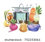 watercolor cute soup and... | Shutterstock . vector #752253061