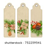 set of christmas vector tags or ... | Shutterstock .eps vector #752259541