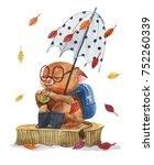 watercolor cute children's... | Shutterstock . vector #752260339