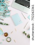 flat lay home office desk.... | Shutterstock . vector #752262361