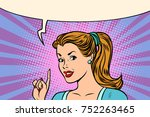 pop art woman pointing finger.... | Shutterstock .eps vector #752263465